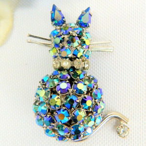 Joseph Warner blue ab rhinestone cat brooch pin